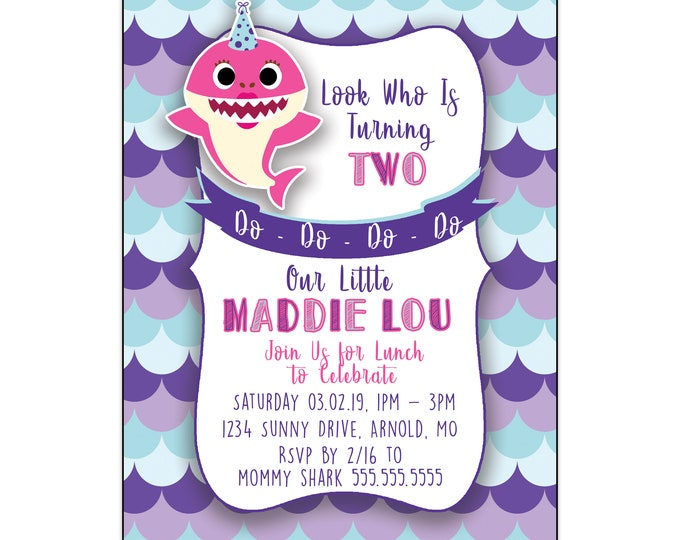 Baby Shark | Birthday Party Invitations | Personalized | Purple or Blue Design