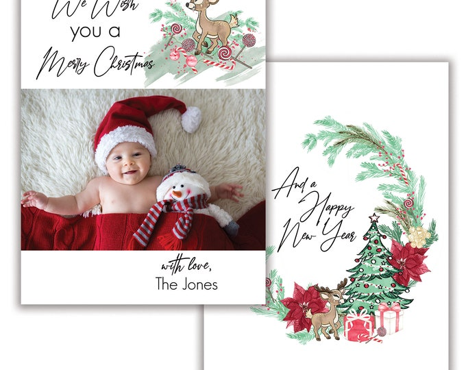 We Wish You a Merry Christmas, Personalized Photo Christmas Card, Merry Christmas, Happy Holidays, Digital Download