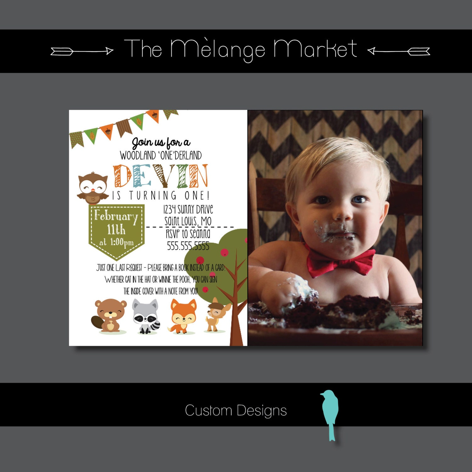 Customized birthday invitation first birthday woodland customized birthday invitation first birthday woodland creatures animals toddler personalized filmwisefo