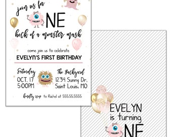 Monster Mash Invitation, Pink and Gold, Little Girl Monster, Any Age, Birthday Party Digital or Printed Option