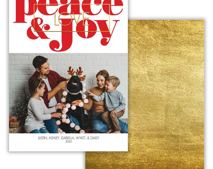 Peace Love and Joy, Personalized Photo Christmas Card, Merry Christmas, Happy Holidays, Digital Download