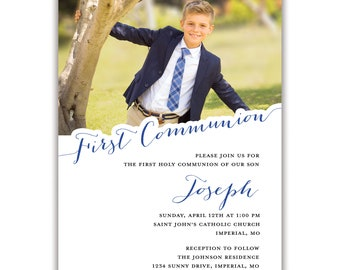 First Communion Personalized Invitations Envelopes Included with Printed Option, Printed or Digital DIY Invitations