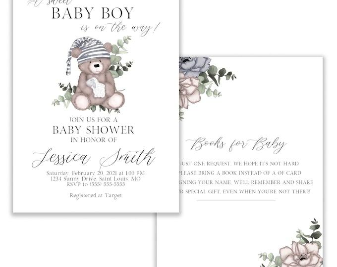 Teddy Bear Baby Shower Invitation Boy, Greenery, Foliage, Floral, Digital, Books for Baby