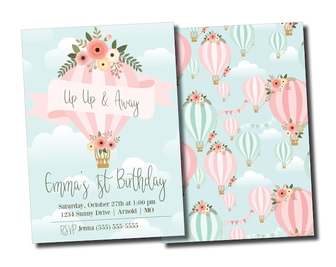 Hot Air Balloon | Birthday Party Invitation | Personalized