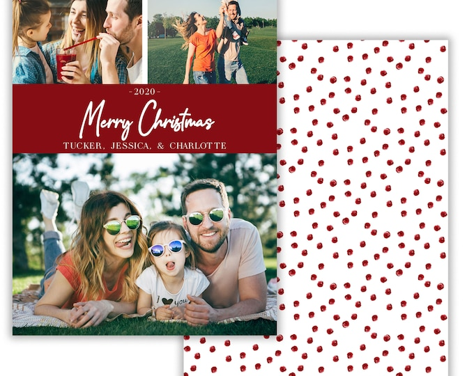 Personalized Photo Christmas Card, Merry Christmas, Happy Holidays, Digital Download or Printed Options