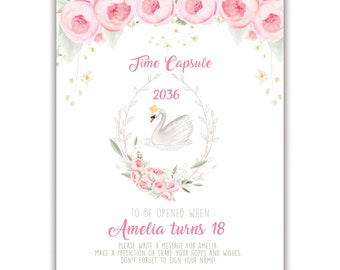 """Sweet Swan, Time Capsule, 8"""" x 10"""" Sign, Personalized"""