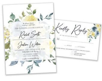 Wedding Invitation Set, Floral Wedding Invitation Suite, RSVP Card