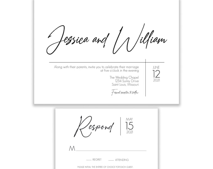 Wedding Invitation Set, Minimalist Modern Wedding Invitation, RSVP Card