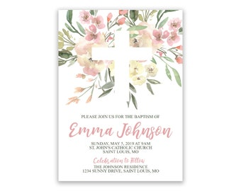 Floral First Communion | Religous Personalized | Invitations
