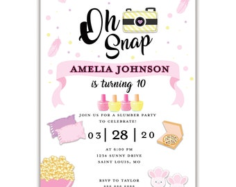 Oh Snap Slumber Party Birthday Invitation, Personalized, Envelopes Included with Printed Option