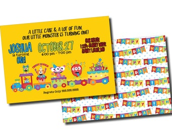 Our Little Monster   Birthday Party Invitation   Personalized