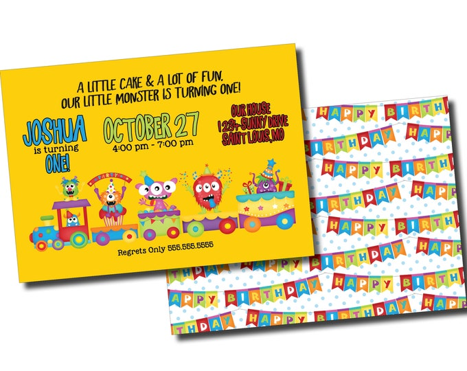 Our Little Monster | Birthday Party Invitation | Personalized