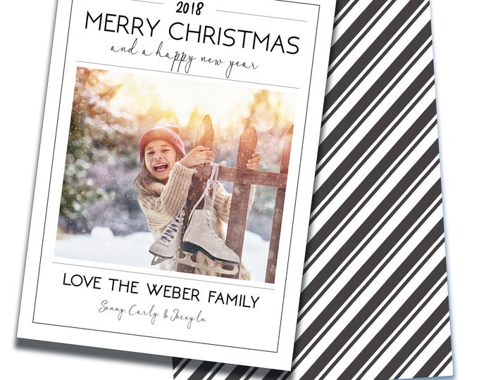Merry Christmas & Happy New Year, Holiday Photo Card, Digital Cards, Personalized