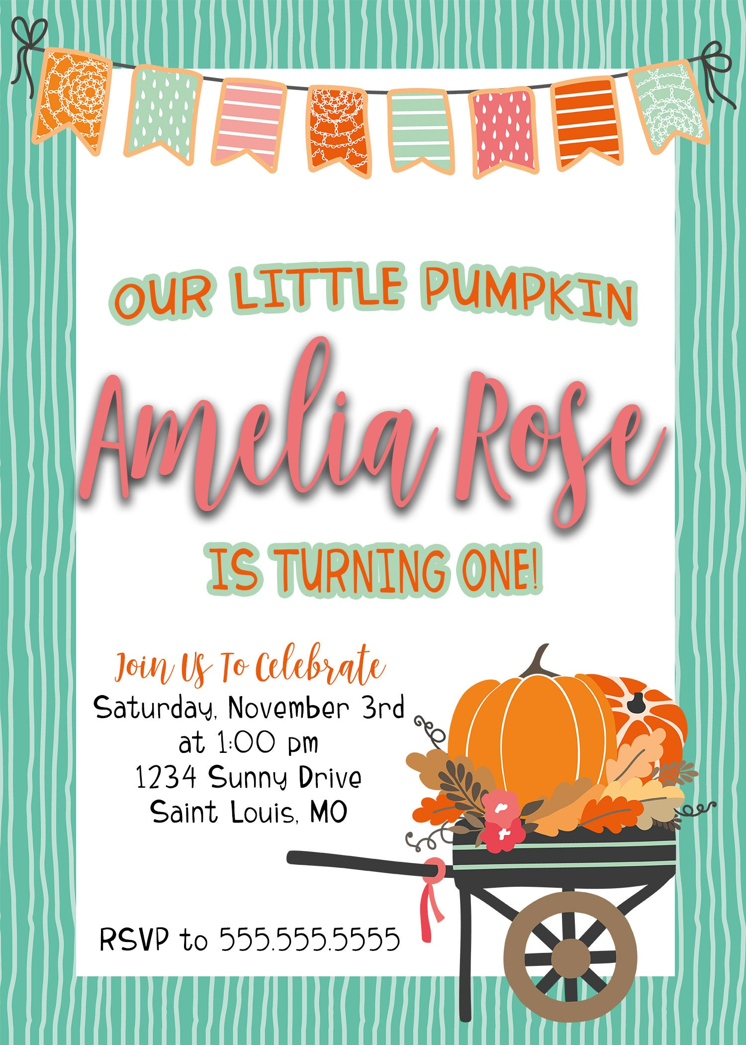Our Little Pumpkin   Birthday Party Invitation   Personalized