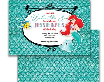 Little Mermaid, Kids Birthday Invitation, Custom Party Invite, Printed Birthday Invitation, Digital Invitation