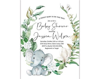 The Melange Market, Personalized Baby Shower Invitations, Elephant and Lush Greenery, Envelopes Included with Printed Option