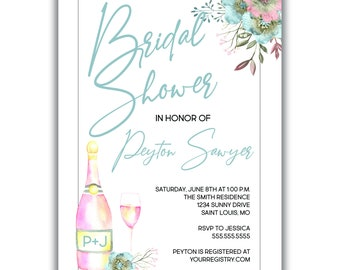 Champagne & Flowers | Bridal Shower Invitation | Personalized | Envelopes Included