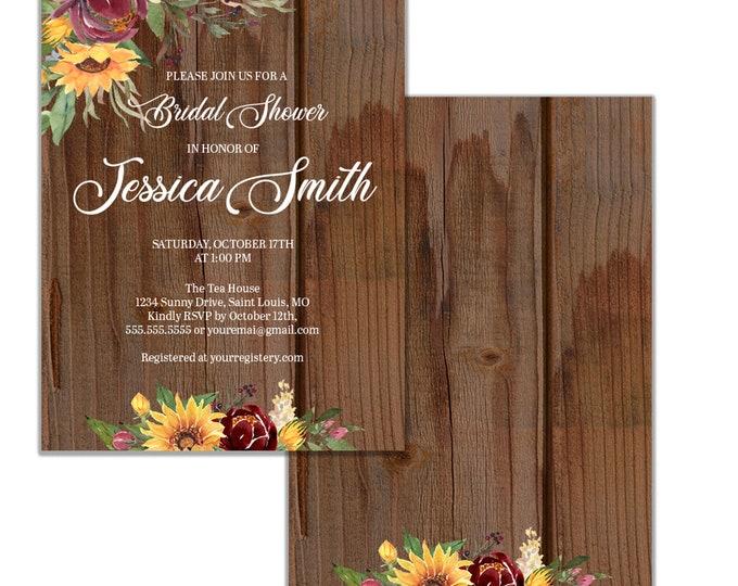 Sunflower Bridal Shower Invitation, Rustic Shower Invitation, Digital or Printed Option