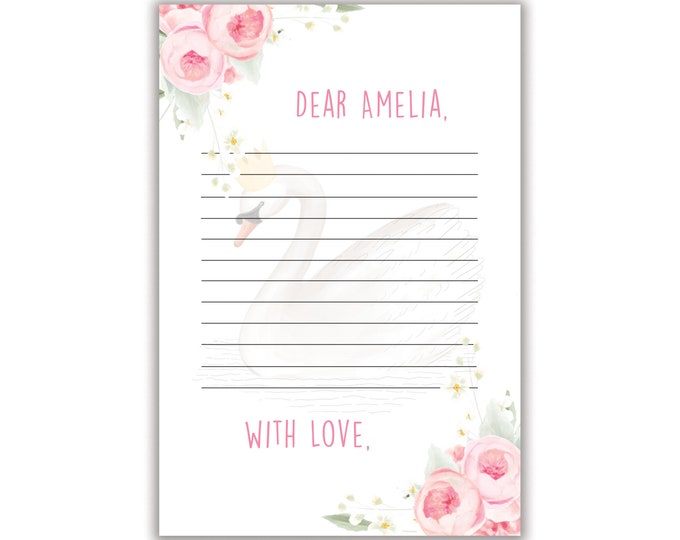 Sweet Swan, Time Capsule, Note Cards, Personalized