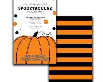 Spooktackular Halloween Party Invitation | Cute Pumpkin Invite