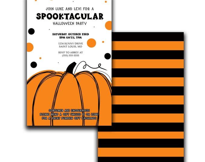 Spooktackular Halloween Party Invitation   Cute Pumpkin Invite