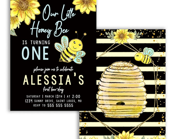Our Little Honey Bee Birthday Party Invites, Bee-Day Invitations, Bee Party Bumble Bee Theme, Digital or Printed Option