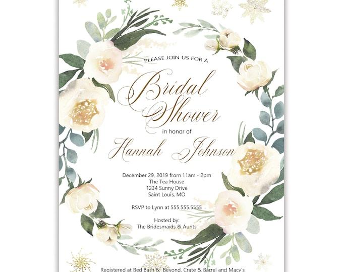 Winter Bridal Shower Invitations, Floral & Greenery, Printed Invitation, Digital Invitation