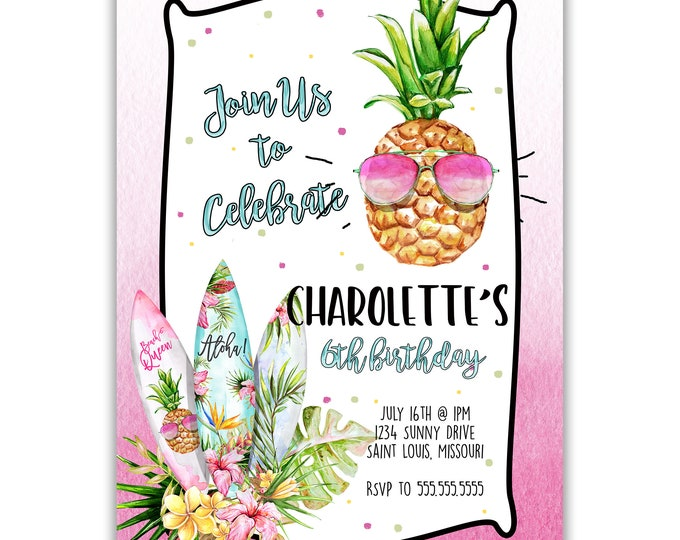 Aloha | Birthday Party Invitation | Personalized | Envelopes Included with Printed Option