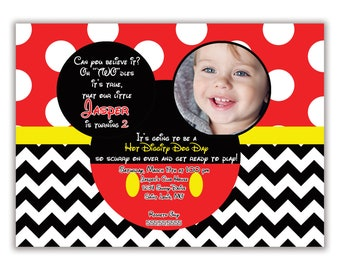 Mickey Mouse Birthday Party Invitation, Personalized with Child's Photo, Envelopes Included with Printed Option
