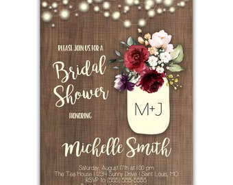 Rustic Wood Grain | Bridal Shower Invitations | Personalized | Envelopes Included with Printed Option