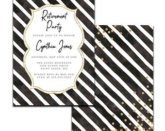 Black, White, and Gold | Retirement Invitation | Personalized