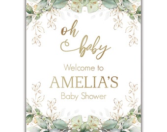 Greenery & Gold, Baby or Bridal Shower, Welcome Sign