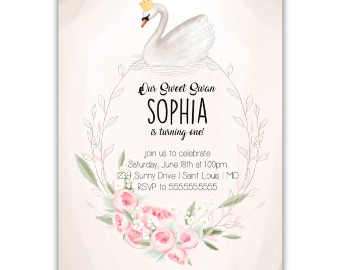 Sweet Swan | Birthday Party Invitation | Personalized | Envelopes Included with Printed Option