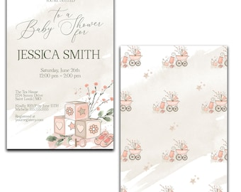 Blush Baby Shower Invitation, Baby Girl Invite, Printed and Digital Options
