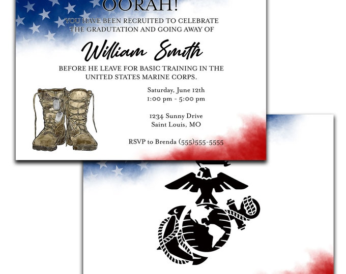 Military Going Away Party Invitation / Deployment Party / Basic Training / Patriotic