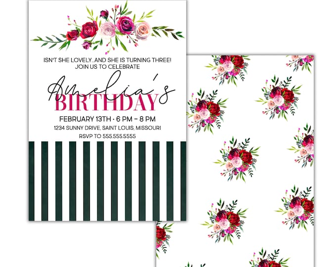Isn't She Lovely, Birthday Party Invitation, Red Purple Pink Burgundy Roses Peonies Flower Bouquets and Stripes, Digital or Printed Option