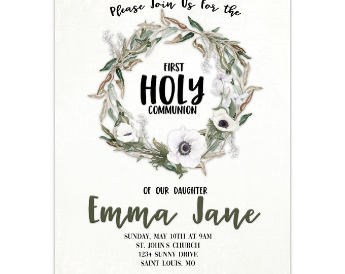 First Holy Communion Invitation, Personalized, Envelopes Included with Printed Option