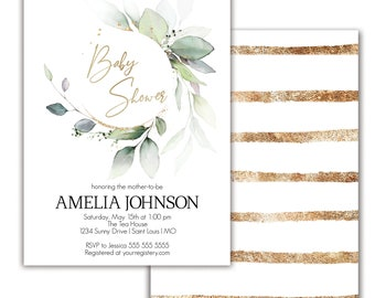 Baby Shower Invitation Greenery Baby Shower Invite Printable Baby Shower Invitation Gold Baby Shower