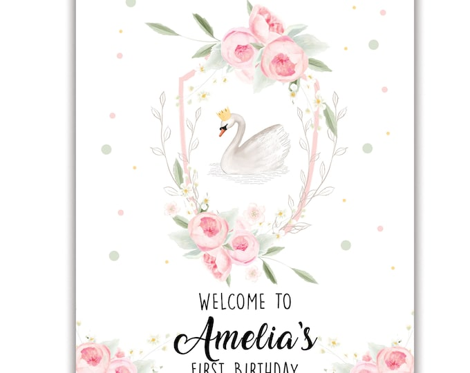Sweet Swan, Birthday Poster, Welcome Sign