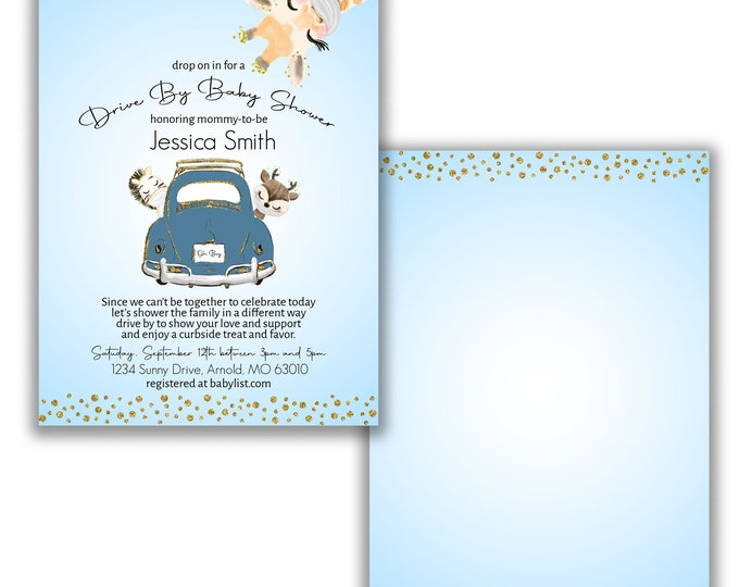 Drive By Baby Shower Invitation Animal Baby Shower drive through baby shower social distancing baby shower parade