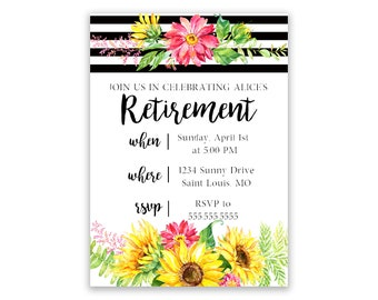 Stripes and Sunflowers | Retirement Invitation | Personalized