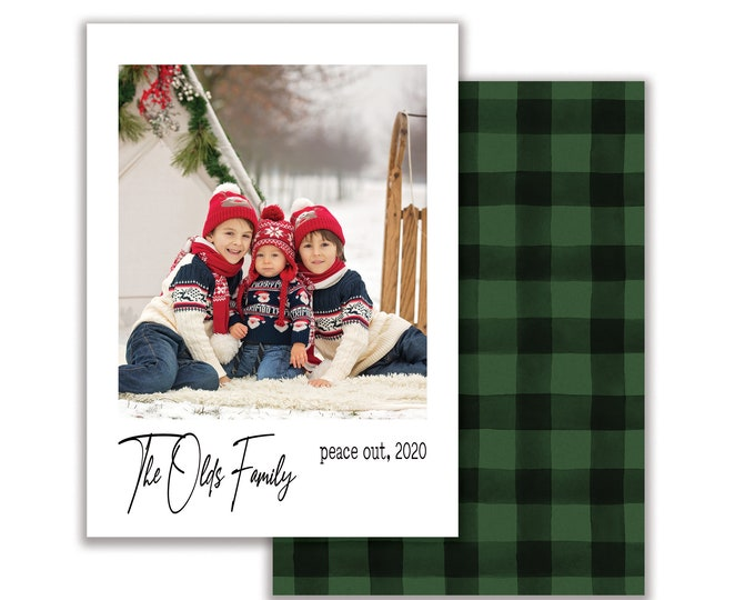 Peace Out 2020, Personalized Photo Christmas Card, Merry Christmas, Happy Holidays, Digital Download or Printed Options
