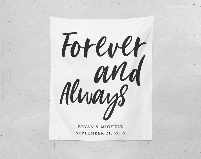 Forever and Always Photo Booth Backdrop | Personalized Party Decorations
