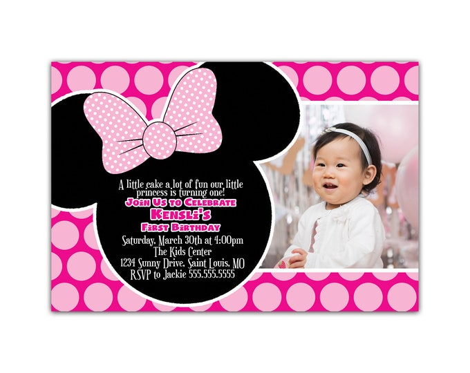 Minnie Mouse Birthday Party Invitation, Personalized with Child's Photo, Envelopes Included with Printed Option