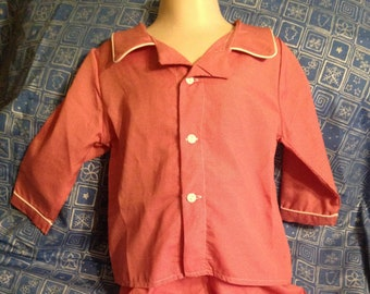 Red Gingham Pajamas Size 6- Red cotton polyester pajamas- Monogrammed Size  8 Pajamas 5a0a4f0a7