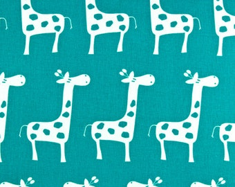 "GIRAFFE Stretch Gisella Giraffe Fabric By The Yard True Turquoise or Choose color Premier Prints Fabric by the yard 54"" wide-1 yard"