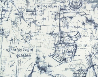 "Premier Prints Fabric-Schooner-Nautical Fabric-Deep Blue-54"" wide-Decorator Fabric-Fabric by the yard-Cotton Decorator Fabric"