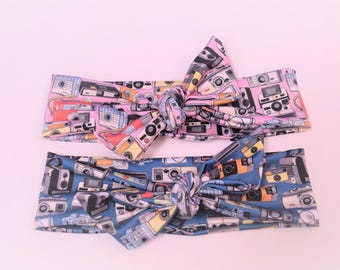 Vintage camera print hand tied headband baby size head wrap