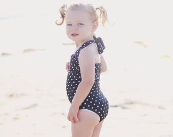 Black & white polka dot retro one piece baby girl vintage swimsuit onesie newborn to 12 mos.