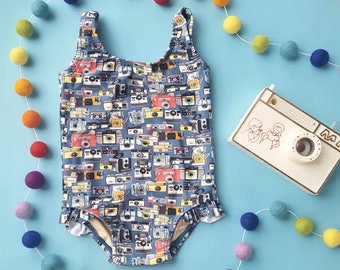 Blue vintage camera print retro one piece baby girl swimsuit onesie 0-3 - 12-18 mos
